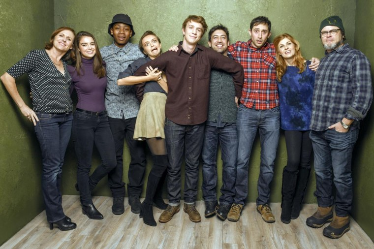 "PARK CITY, UT - JANUARY 24:  (L-R) Actors Molly Shannon, Katherine C. Hughes, RJ Cyler, Olivia Cooke, Thomas Mann, director Alfonso Gomez-Rejon, screenwriter Jesse Andrews, actors Connie Britton and  from ""Me & Earl & the Dying Girl"" pose for a portrait at the Village at the Lift Presented by McDonald's McCafe during the 2015 Sundance Film Festival on January 24, 2015 in Park City, Utah.  (Photo by Larry Busacca/Getty Images)"